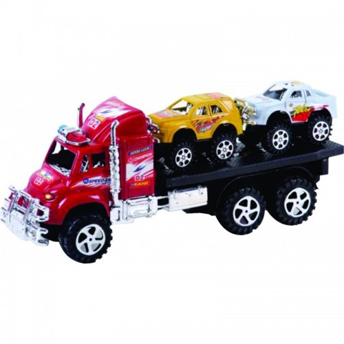 TRACTOMULA RACING CON CARROS FRICCION BASE Y TAPA